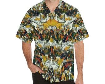 Men's  Relaxed Short Sleeve Shirt Lapel Collar GRAFFITI