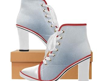Women's Chunky Heel Ankle Boots Denim Blue
