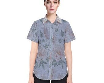 Women's Short Sleeve Button Shirt Blue Floral