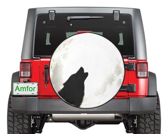 Spare Tire Cover Moon Wolf