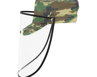 military Cap With Face Shield Green Camo
