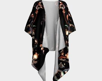 Midnight Champagne Draped Kimono Robe