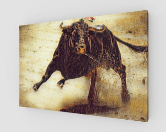 Raging Bull Canvas Wrapped Art Print