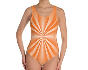 One-Piece Swimsuit Coral Stripe