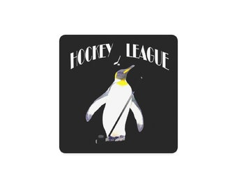 Hockey Penguins Square Coasters