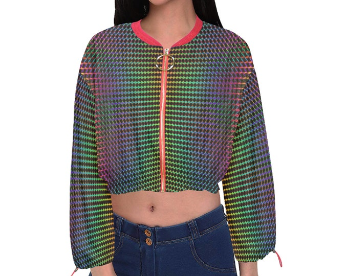 Featured listing image: Women's Chiffon Cropped Jacket Holographic