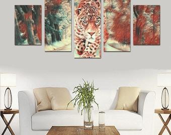 Roaming Leopard Five Panel Canvas Set