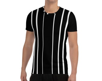 Men's Athletic T-shirt Black with White Stripes