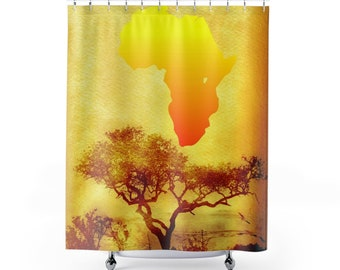 African Scenic Design Shower Curtains