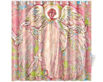 Angel Of Beauty Shower Curtains All Sizes