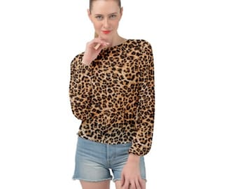 Women's Banded Chiffon Top Leopard Print