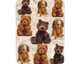 Sherpa Fleece Blanket Teddy Bears