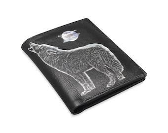 Men's Leather Wallet Wolf