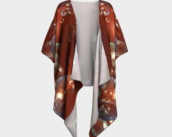 Red Champagne Draped Kimono