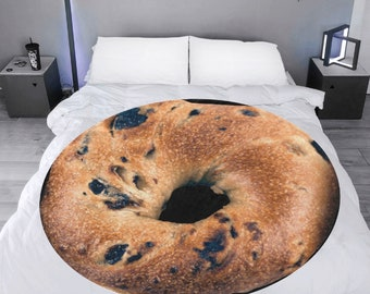 Microfleece Round Throw Blanket bagel