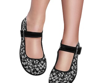 Women's Mary Jane BW Floral Shoes