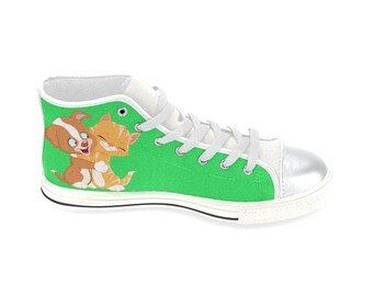 Kid's Hi Top Canvas Shoes Cat and Dog