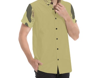 Men's Button Shirt Camo Sand