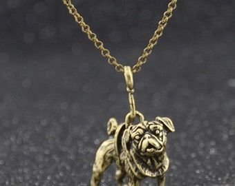 Pug Dog Pendant Antique Bronze and Black Necklace