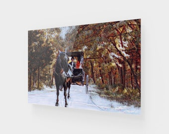 Horse Buggy Trail Acrylic Painting