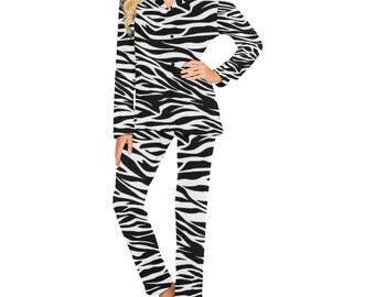 Women's Zebra Print Pajama Set