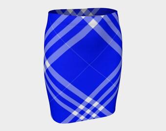Ocean Blue Plaid Fitted Skirt