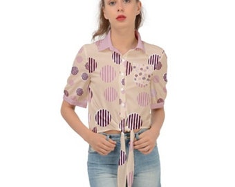 Women's Tie Up Front Cropped Shirt