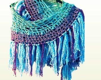 Crochet Blue Purple Shawl Wrap