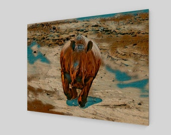 Charging Rhinoceros Wood Print