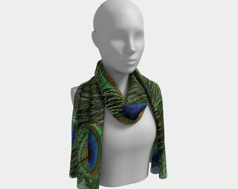 Peacock Feather Long Scarf