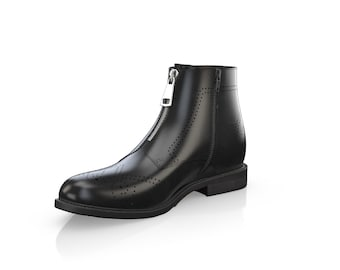 Men's Leather Zip On Ankle Boots