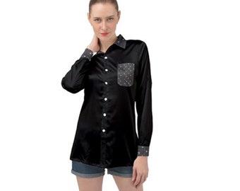 Women's Long sleeve Satin Shirt Black