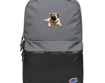 Embroidered Champion Backpack Pug Dog