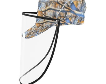 Military Cap With Face Shield Camo Blue