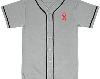Mesh Baseball Jersey Red Ribbon Awareness
