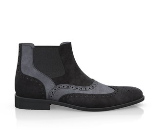 Men's Brogue Leather Ankle Boots