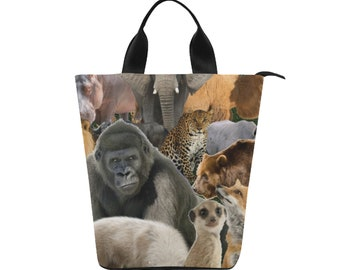 Nylon Lunch Tote Bag wildlife print