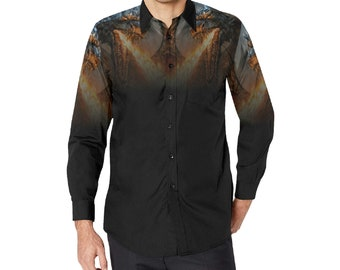 Men's Button Long Sleeve Dress Shirt dragonfire