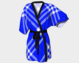 Ocean Blue Plaid Kimono Robe