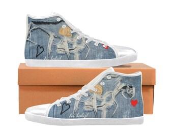 Women's Hi Top Denim Canvas Shoes