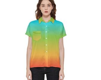 Women's Rainbow Short Sleeve Button Shirt