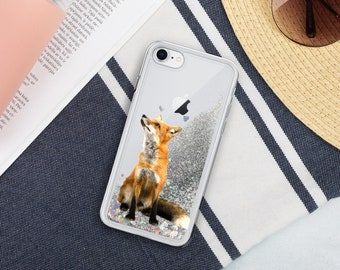 Liquid Glitter Phone Case Fox