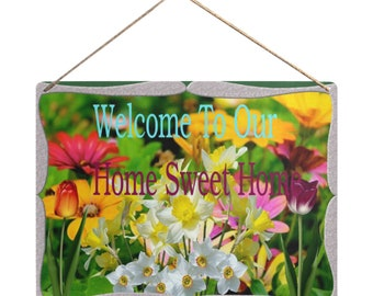 Hanging Tin Sign Home Sweet Home