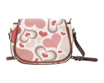 Women's Saddle Bag Purse Hearts