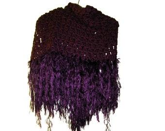Crocheted Purple Shawl With Tassels