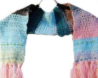 Crochet Pink And Blues Scarf