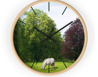 Wall Clock Grazing Horse