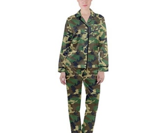 Women's Camouflage Satin Pajamas