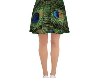 Skater Skirt Peacock Feathered ShortWaist Band