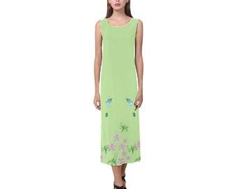 Women's Long Sleeveless Dress Green